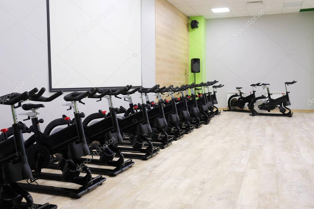 fitness hall with sport bikes