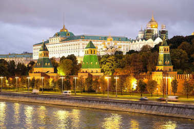 panorama of Moscow Kremlin in a night