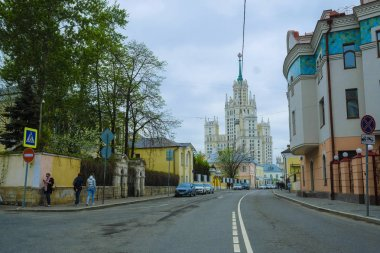 Moscow, Russia - May, 6, 2018: High-rise building on Kotelnicheskaya embankment in Moscow, Russia. There is the Illuzion cinema in this building