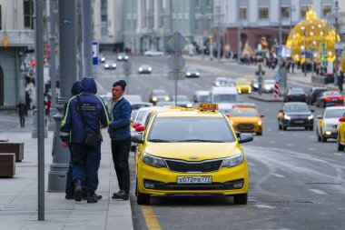 Moscow, Russia - January, 26, 2020: the image of the taxi on Moscow street