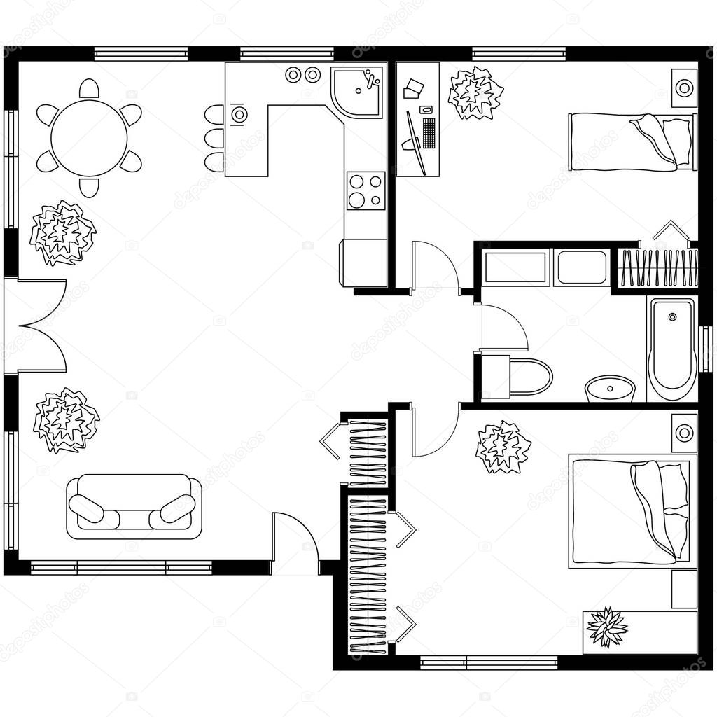 Plan architectural d'une maison — Image vectorielle ivofet © #130190576