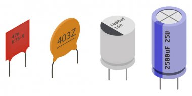 Isometric Electronic components Capacitors