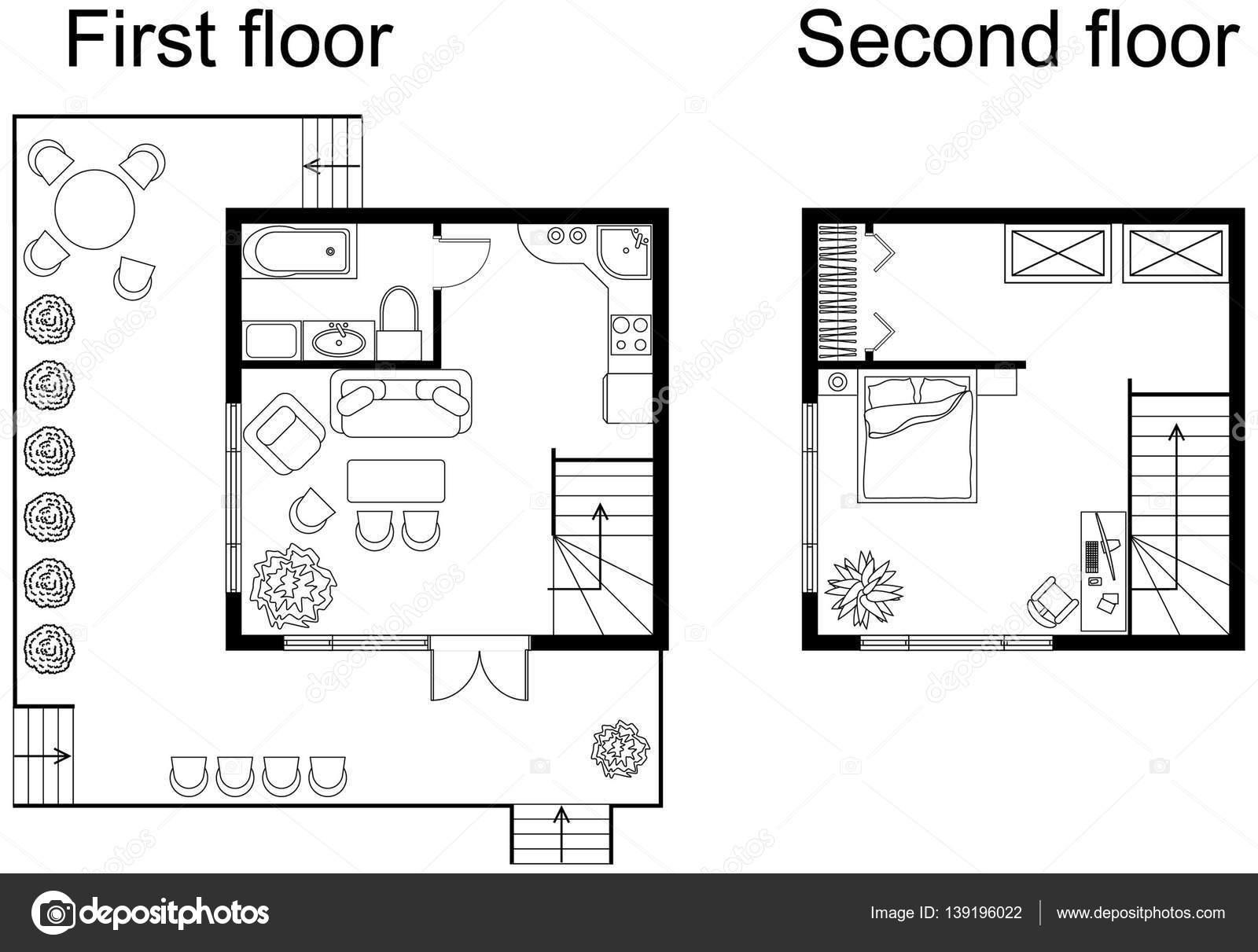 Noir Et Blanc Plan Architectural Du0027une Petite Maison De Deux étages.  Appartement Avec Des Meubles En Vue De Dessin. Avec Cuisine Et Salle De  Bains, ...