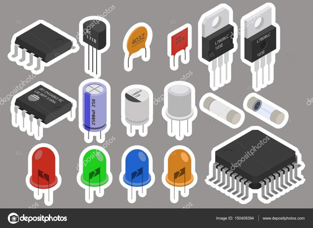 Elektronische Bauteile-Aufkleber — Stockvektor © ivofet #150409394