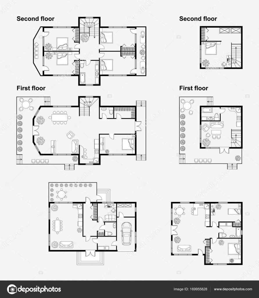 Planos arquitect nicos de blanco y negro archivo for Dibujos de muebles para planos arquitectonicos