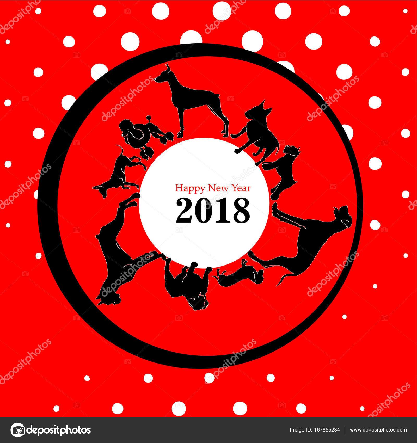Jahr Der Hund Neujahr Karte Illustration — Stockvektor © Asichka ...