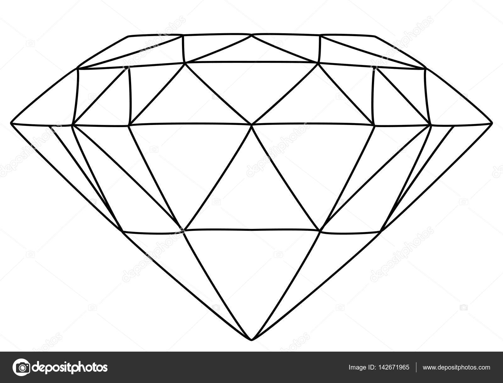 Line Drawing Diamond : Dessin au trait diamant — image vectorielle lukalex