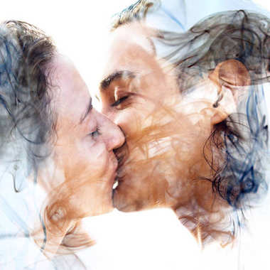 Kissing couple combined with smoke