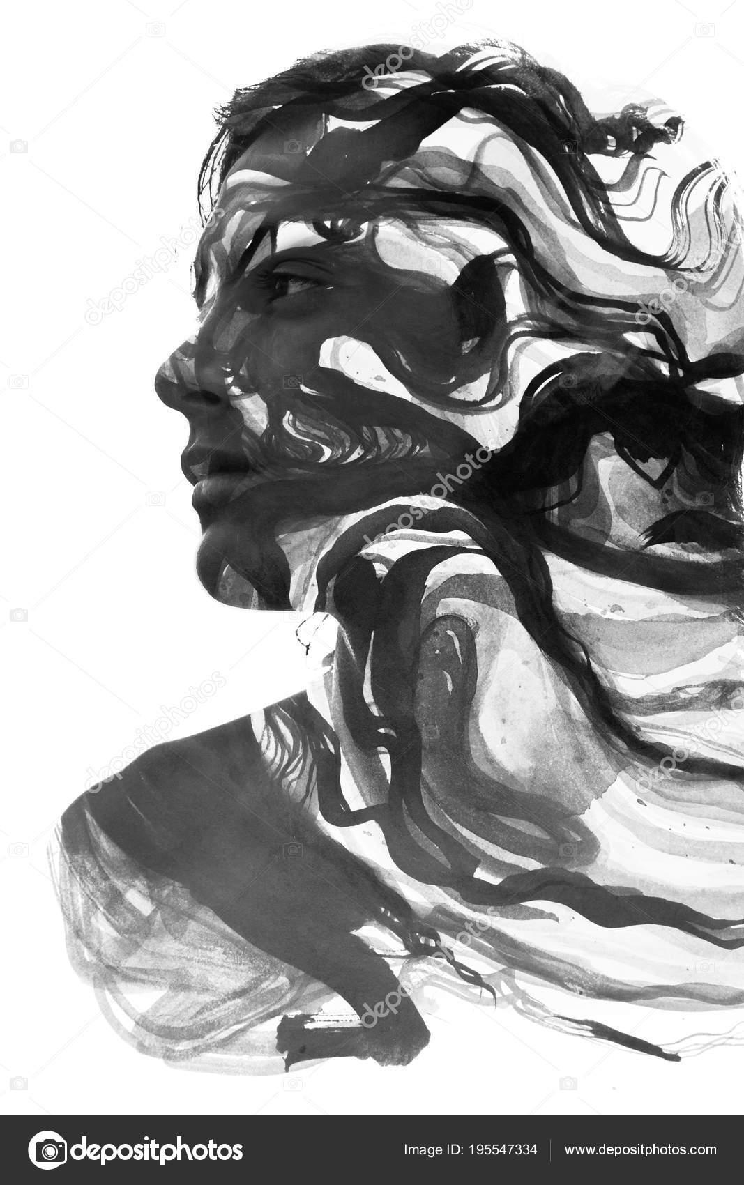 çoklu Pozlama Portre Erkek Yüz Boyama Teknikleri Elle çizilmiş