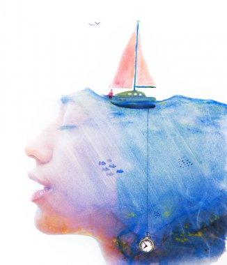 Unique double exposure of female portrait and hand drawn watercolour painting of sea with ship