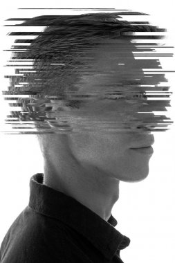 Glitched portrait of a man