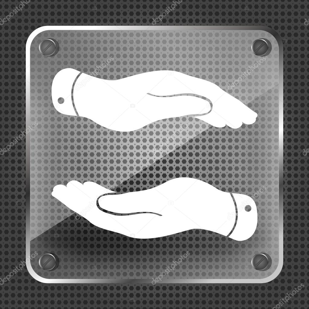Glass caring hands icon