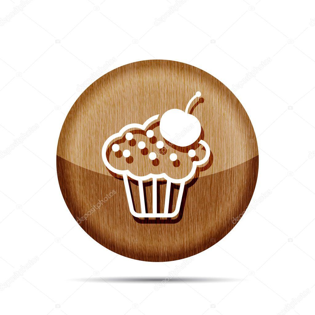 Kuchen Icon Mit Kirsche Stockvektor C Sommersby 127409190