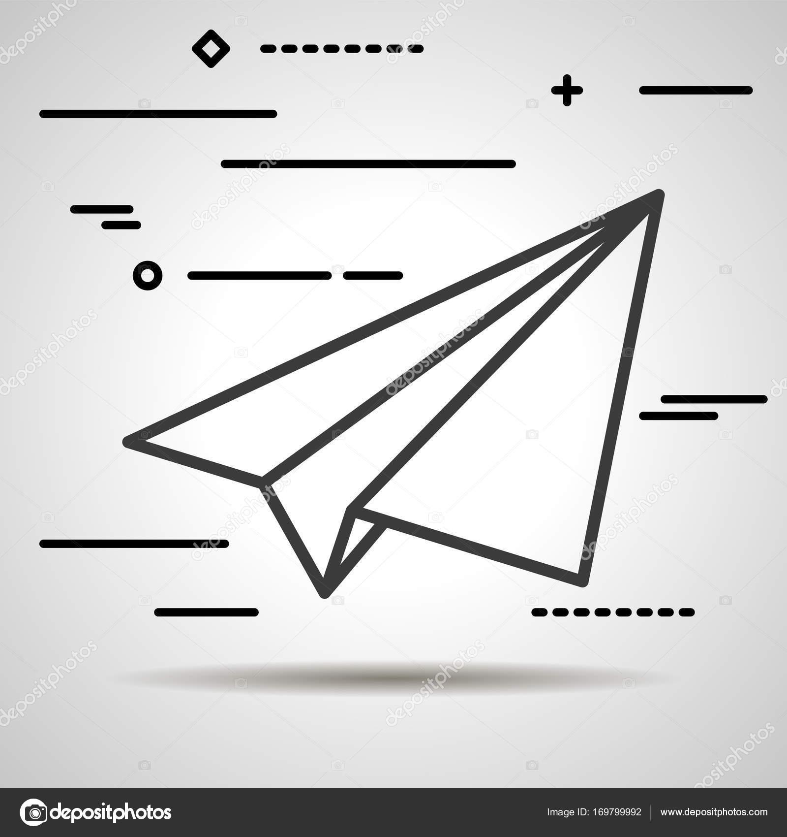 Flache Linie Grafik Designkonzept des Papier-Flugzeug-Symbol auf ...