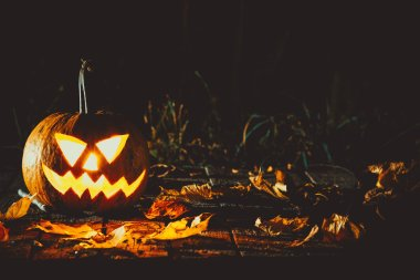 Glowing pumpkin symbolizing  old  Jack