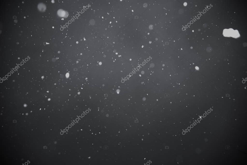 Falling snow on black background