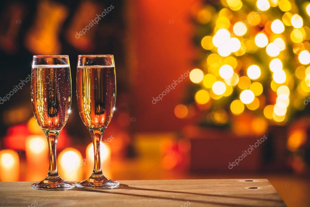 Close up of two glasses with champagne