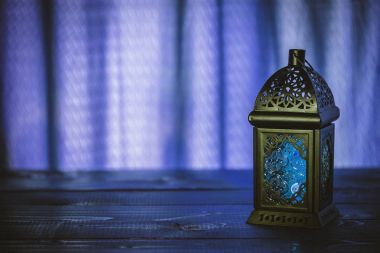blue background with lantern