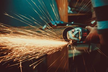 Sparks during cutting of metal