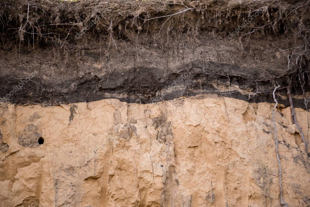 layers of earth in clay pit
