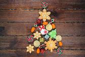 Fotografie Vánoční strom vyrobený z perníku cookie