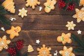 Fotografie Vánoční pozadí s domácím perníkem cookies