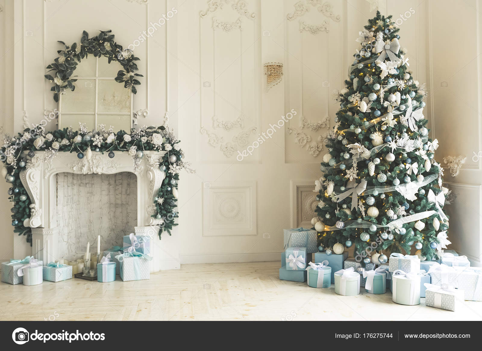 Christmas Living Room Christmas Tree Fireplace Gifts Large Window ...
