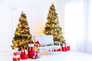 decorated living room with Christmas tree and gifts