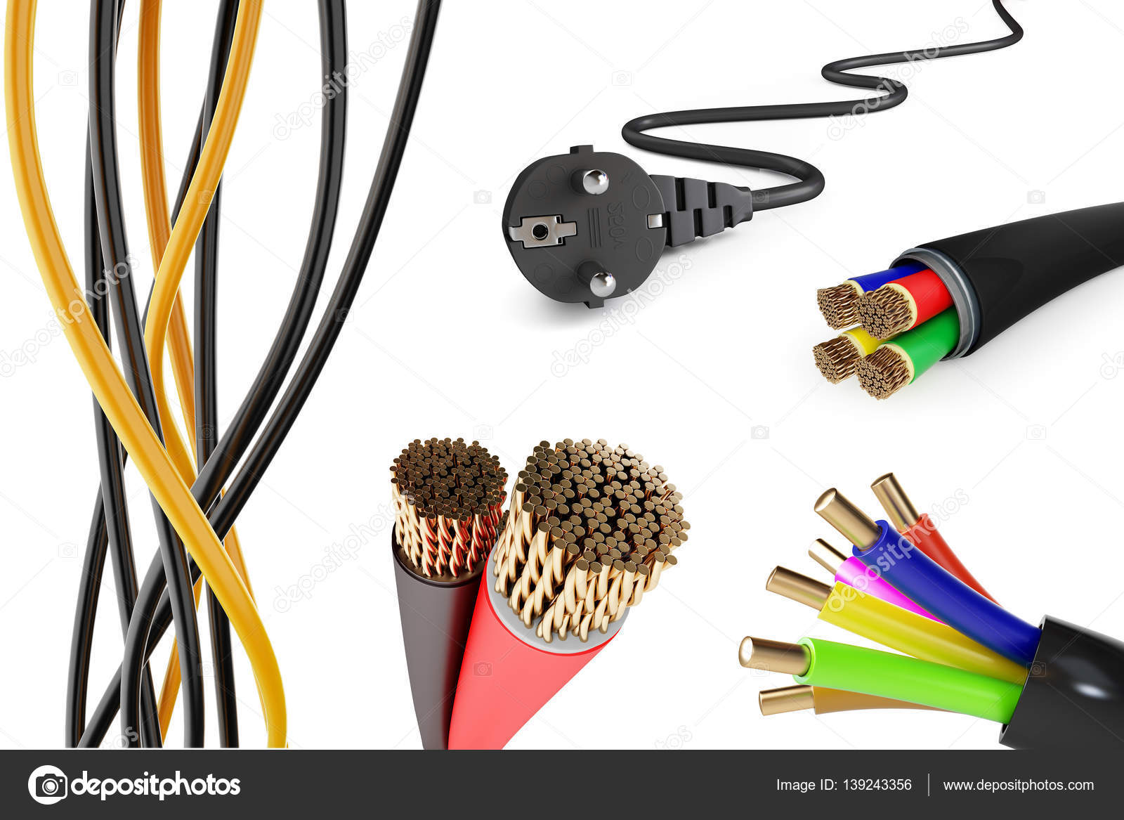 set of electric wires on a white background 3D illustration — Stock ...