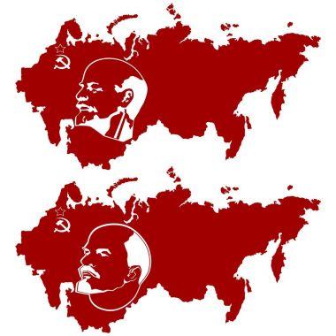 Lenin on the Soviet Union map