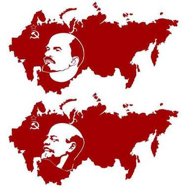 Map of the USSR and Lenin