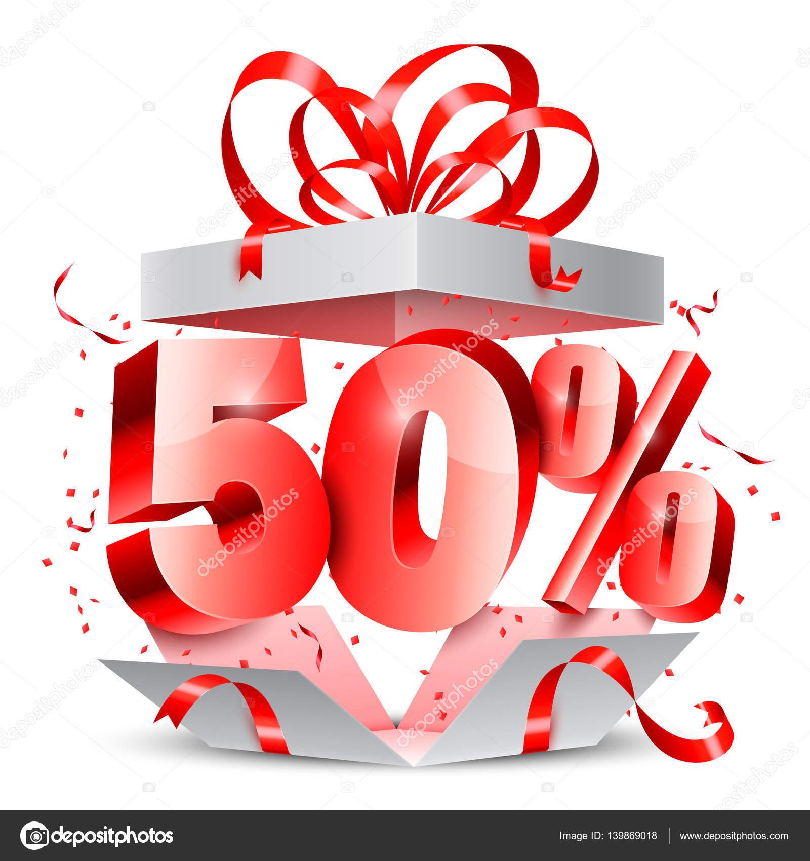 50% скидка подарок — Векторное изображение © timurock ...