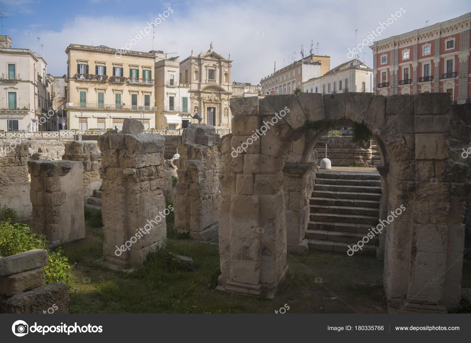 Archeological Site Central Square Lecce Region Puglia Italy