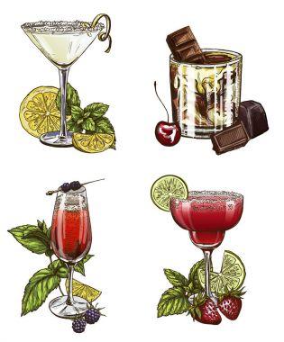 Set of four summer cocktails