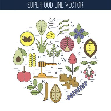 Color superfood line icons, round