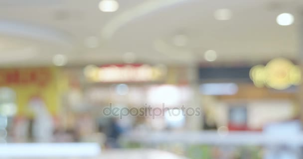 Blurred people in food court of hypermarket time lapse footage, vintage color grading.
