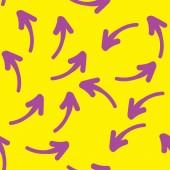 Varrat nélküli kézzel rajzolt geometrikus minta lila nyilak. Vector design