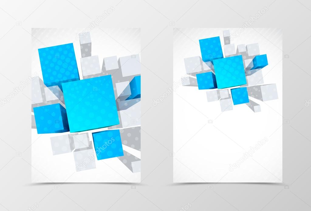 Front And Back Dynamic Geometric Flyer Template Design  Stock