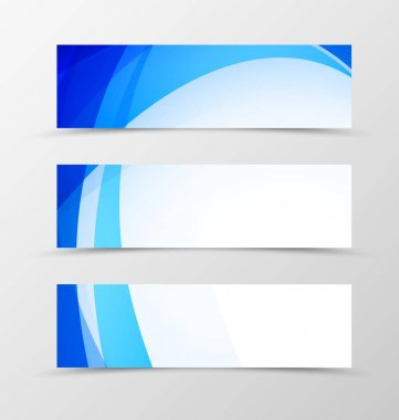 Set of header banner wavy design