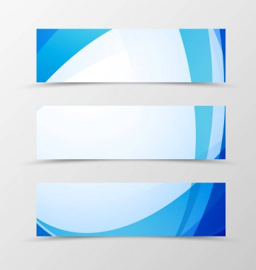 Set of header banner wave design