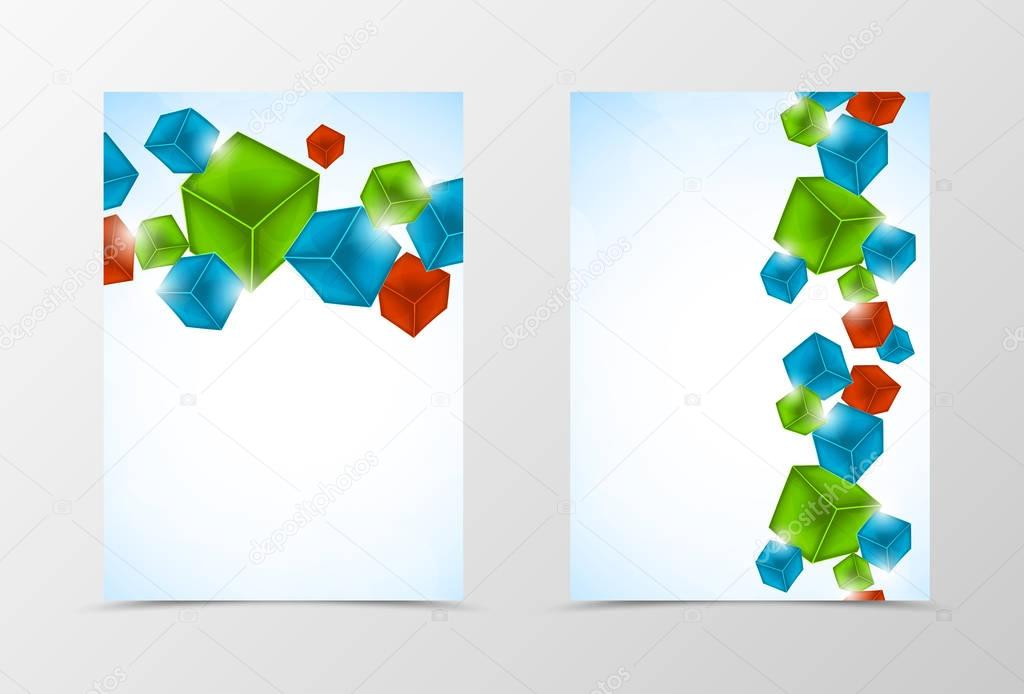 Front And Back Geometric Flyer Template Design — Stock Vector