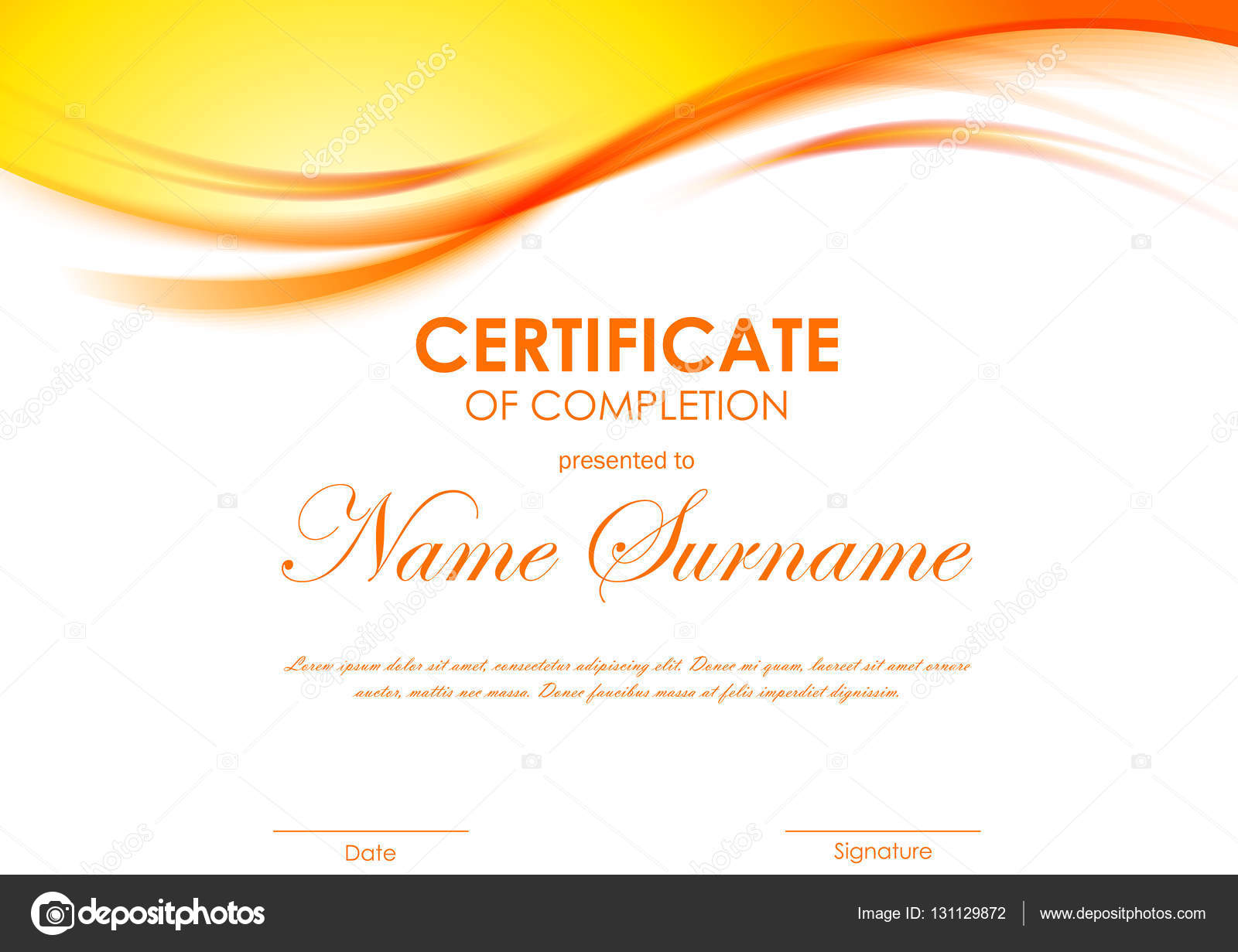 Certificate of completion template stock vector denchik 131129872 certificate of completion template with dynamic orange soft wavy background vector illustration vector by denchik yadclub Images
