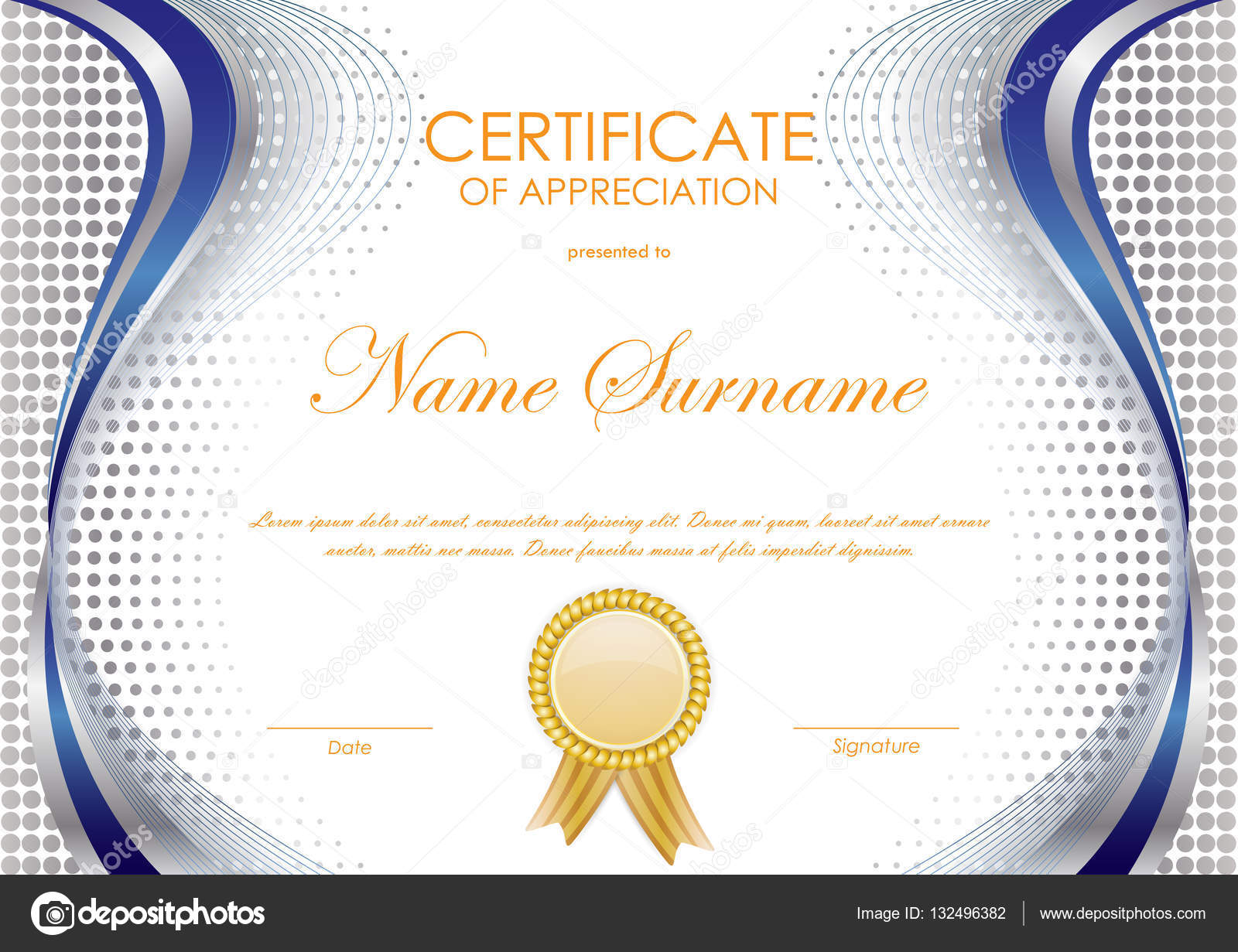 Certificate of appreciation template stock vector denchik 132496382 certificate of appreciation template with blue and silver wavy background and gold label vector illustration vector by denchik yelopaper Choice Image