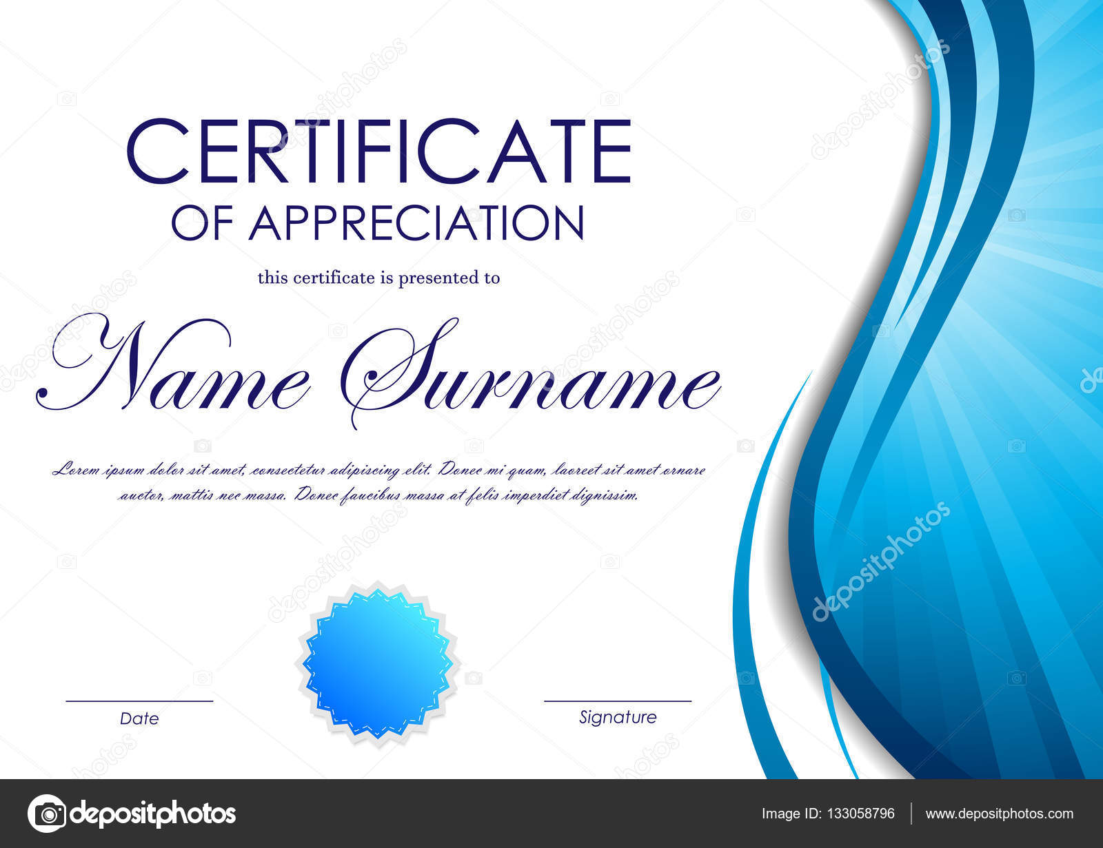 Certificate of appreciation template stock vector denchik 133058796 certificate of appreciation template with blue dynamic wavy vortex light background and seal vector illustration vector by denchik yadclub Image collections