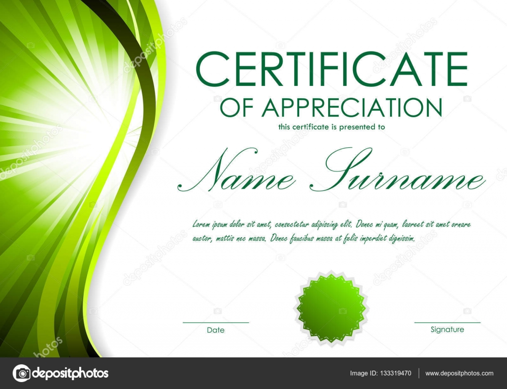 Certificate of appreciation template stock vector denchik certificate of appreciation template with green dynamic bright wavy vortex background and seal vector illustration vector by denchik yadclub Gallery