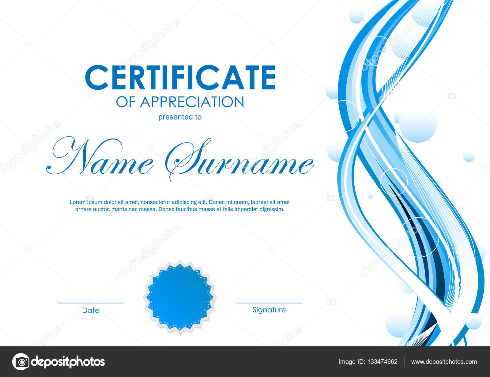Certificate Of Appreciation Template Stock Vector Denchik 133474662