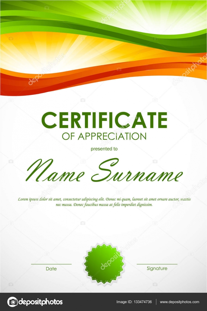 Certificate of appreciation template stock vector denchik certificate of appreciation template with green and orange dynamic wavy swirl background and seal vector illustration vector by denchik yadclub Gallery