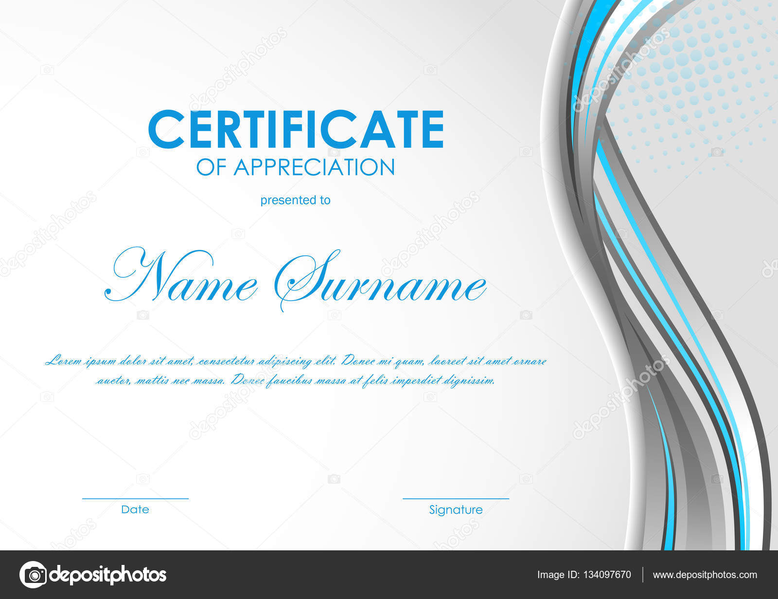 Certificate of appreciation template — Stock Vector © Denchik #134097670
