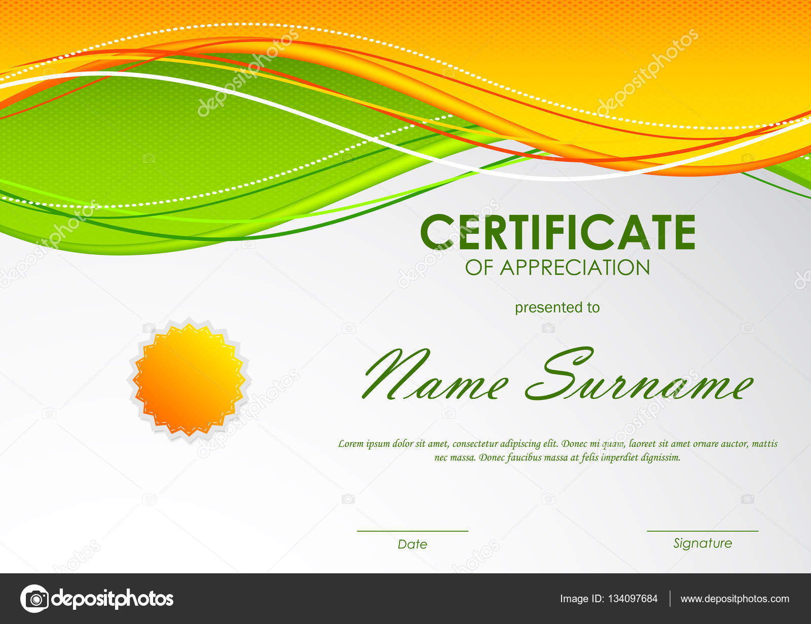Certificate of appreciation template stock vector denchik certificate of appreciation template with orange and green wavy background and seal vector illustration vector by denchik alramifo Image collections