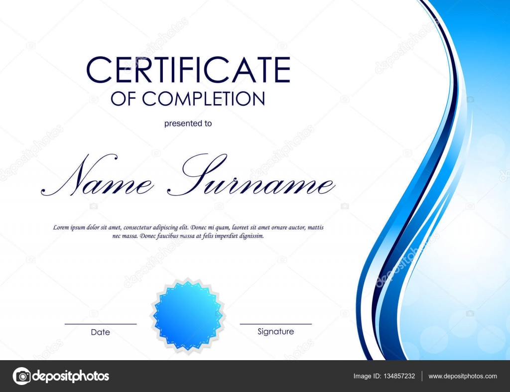 Certificate Of Completion Template Stock Vector Denchik 134857232